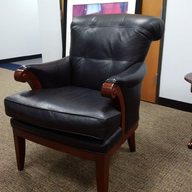 Image of Pearson #795 Black Leather Chair - A Pair