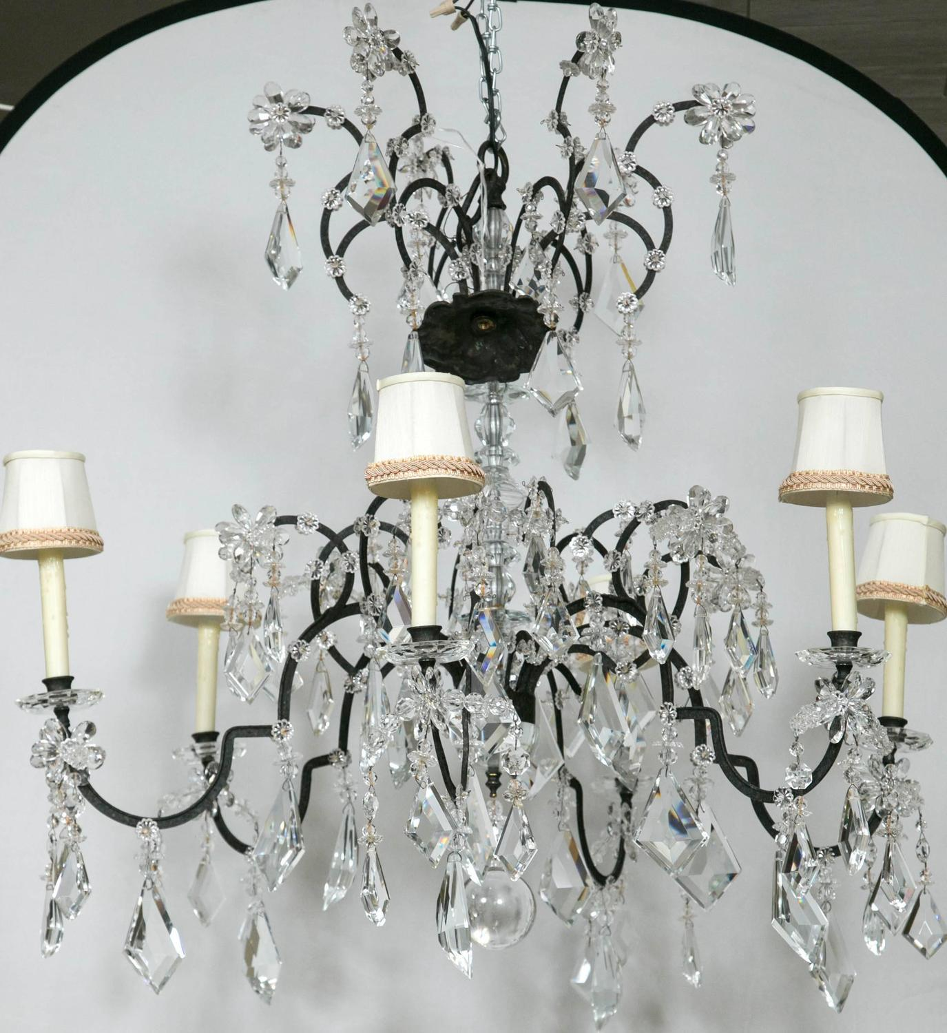 Holly Hunt Wrought Iron Amp Crystal Chandelier Chairish