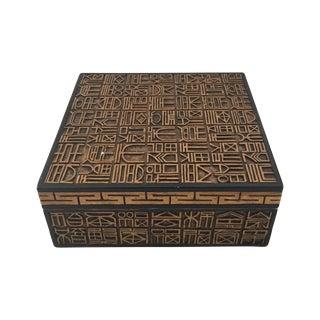 Hand Carved Hieroglyphics Lidded Box