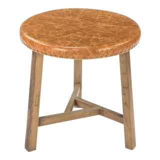 Sarreid LTD Vaart Leather & Oak Side Table