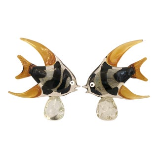 Amber & Black Murano Fish Figurines - A Pair