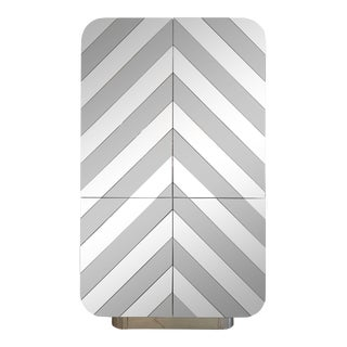 Tall Mirror Chevron Pattern Bar Cabinet
