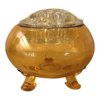 Flower Frog Top Amber Footed Vase