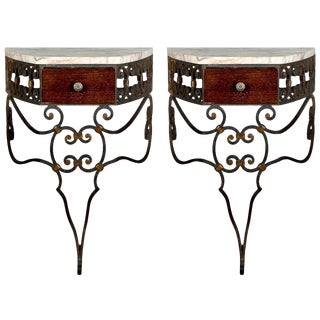 French Wrought Iron Wall-Mounted Consoles - A Pair