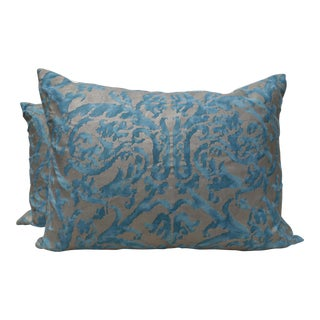 Fortuny Silvery Gold & Blue Pillows - A Pair