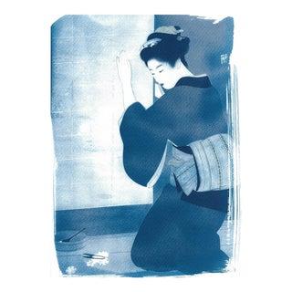Japanese Geisha Cutting Flowers Cyanotype Print on Watercolor Paper