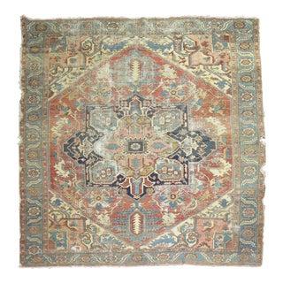 Distressed Antique Persian Serapi Rug, 10'2'' x 11'2''