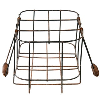 Vintage French Wire Bottle Carrier With Folding Handle