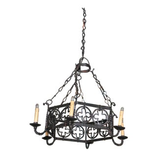 19th Century French Gothic Hexagonal Black Wrought Iron Six-Light Chandelier