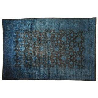 Distressed Blue & Brown Floral Rug - 8′1″ × 10′1″
