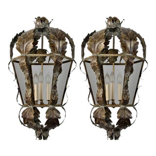 Pair 20th Century Italian Dark Brass and Glass Lanterns With Applied Leaves
