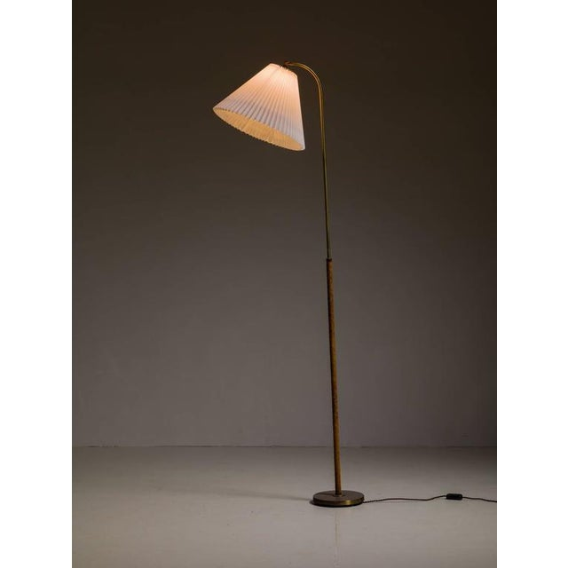 Danish Brass with Woven Leather Height-Adjustable Floor Lamp, 1930s - Image 4 of 4