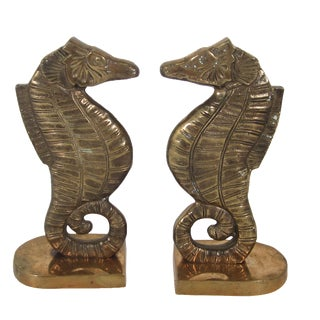 Brass Seahorse Bookends