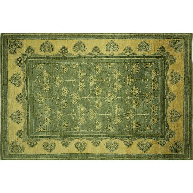 "Green Chobi Gabbeh Oriental Rug - 6'1"" x 9'3"" - Image 1 of 10"