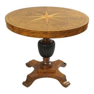 Biedermeier Style Star Inlaid Marquetry Burl Wood Veneer Round Center Table