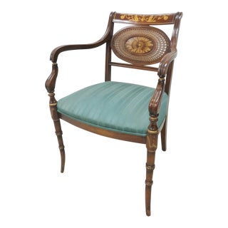 Regency Paint Decorated Faux Bamboo Arm Chair