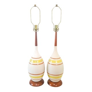 Mid-Century Modern Striped Pottery Lamps - A Pair