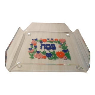 1960's Lucite Stand With Design by Jack Brown Floral Pattern With Sig