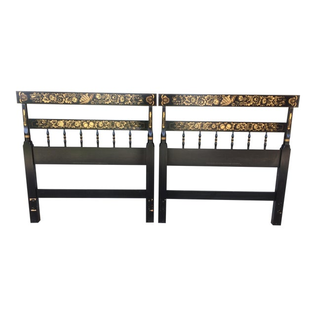 L. Hitchcock Black Twin Headboards - A Pair - Image 1 of 9