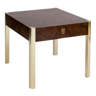 Milo Baughman Attributed Burlwood & Brass End Table
