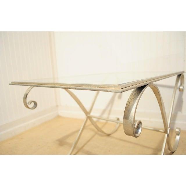 Vintage Hollywood Regency Neoclassical Silver Gilt Metal Coffee Table - Image 7 of 10