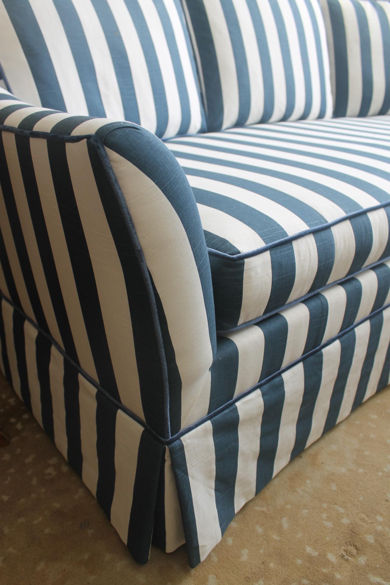 Lillian August Navy White Stripe Sofa Chairish