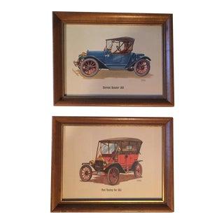 Vintage Framed Classic Auto Prints - A Pair