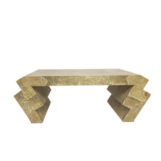 Goatskin Cocktail Table with Zig-Zag Legs, Attributed to Karl Springer