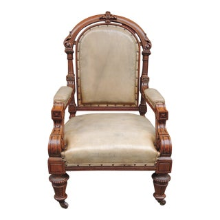 19th C Pair of English Leather Library Chairs