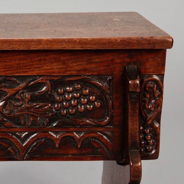 French Hand Carved Oak Stool with Grapes - Image 5 of 9