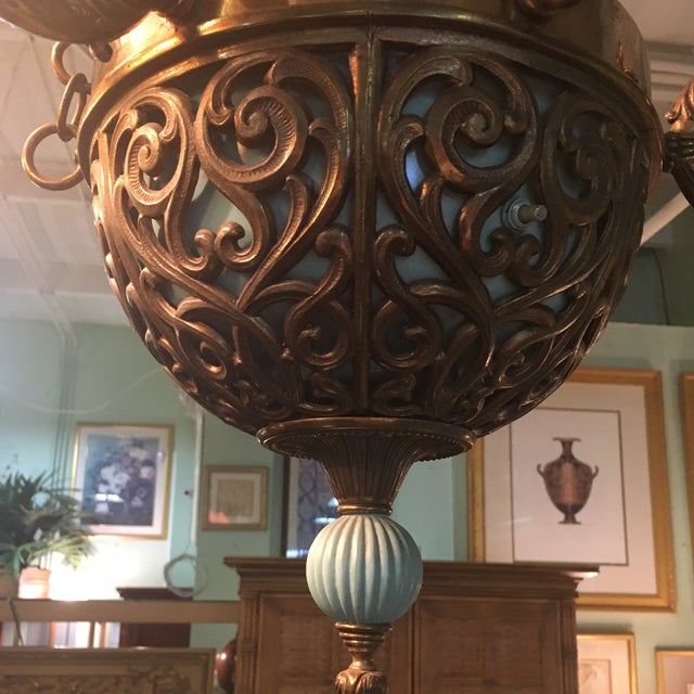 Antique Bronze French Art Deco Chandelier With Lalique Style Globes - Image 9 of 10