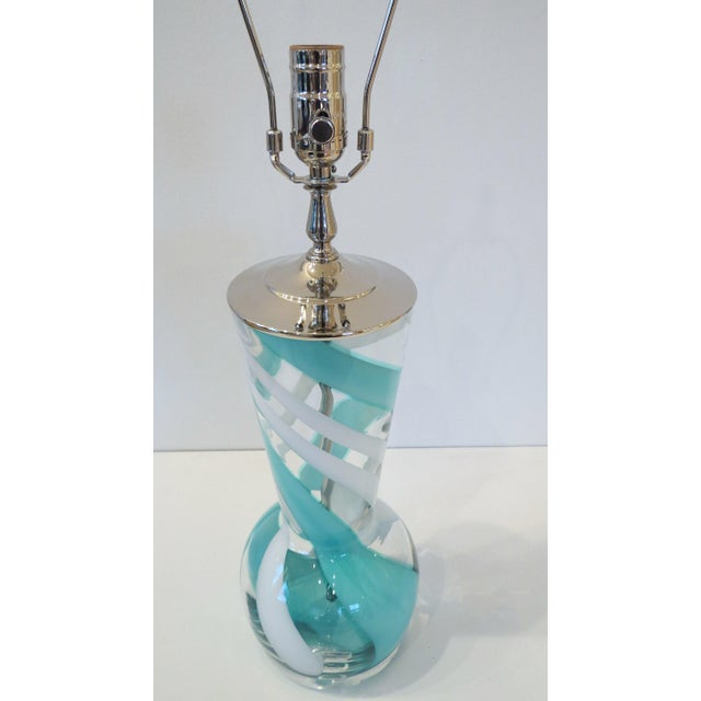 Turquoise Swirl Art Glass Table Lamp - Image 5 of 8