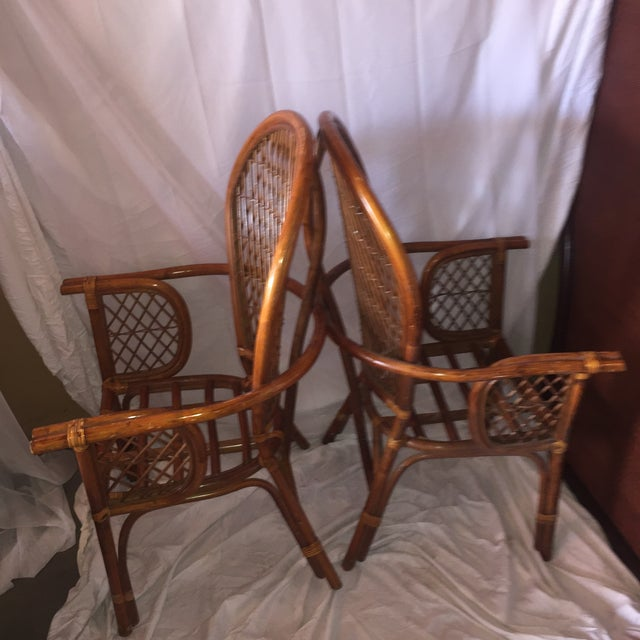Chinoiserie Chinese Chippendale Rattan Chairs - a Pair - Image 7 of 11