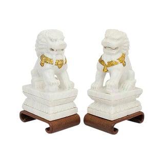 Marble Foo Dogs, Pair