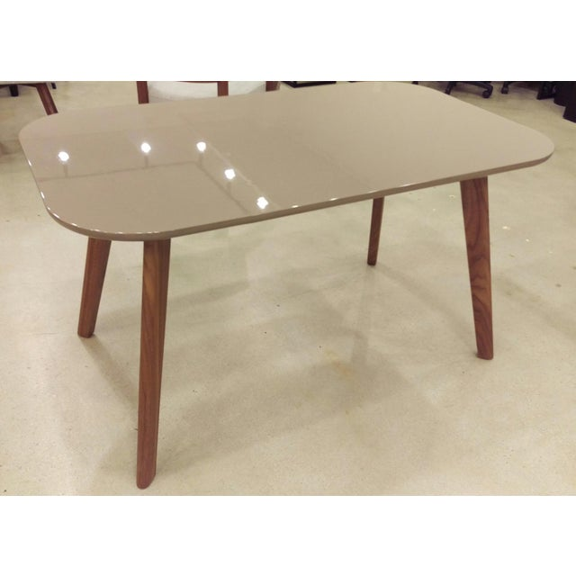 Image of Gray Gloss Dining Table with Walnut Legs