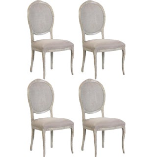 Abrella Oval Back Beige & White Dining Chairs - Set of 4