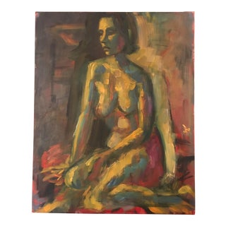 """Beautiful Face"" Abstract Nude Oil Painting"
