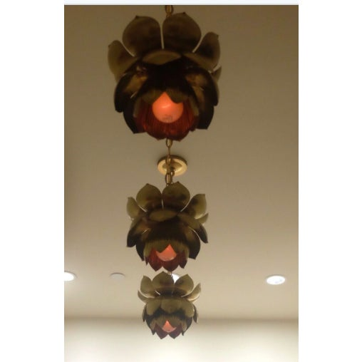 Small Brass Lotus Pendant Lights - Set of 3 - Image 3 of 7