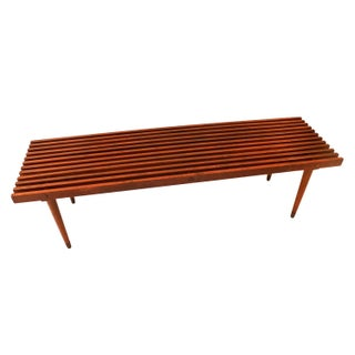Mid-Century Slatted Wood Bench Coffee Table