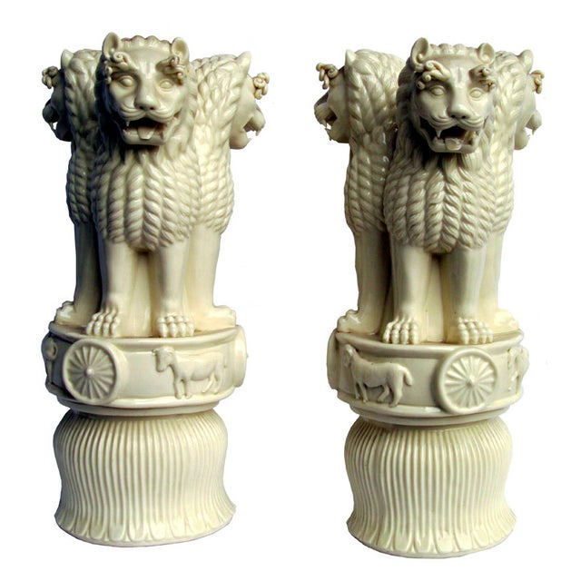 Porcelain Three Heads Lucky Foo Dog Figurines - 2 - Image 2 of 5
