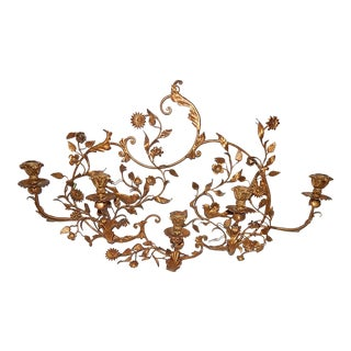 Hollywood Regency Italian Tole Candle Wall Sconce