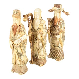 Antique Chinese Wise Men Figures - Set of 3