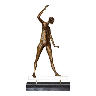 Woman on a Beam, Abstract Figurative Bronze Sculpture by Barbara G. Cohn Bisgye