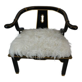 Century Asian Lacquered and Brass Chair the Style of James Mont W/Faux Fur