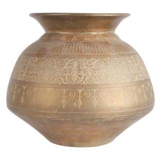 Asian Engraved Brass Vase