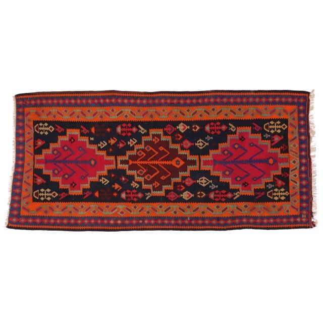 Boho Chic Vintage Persian Tribal Kilim Rug Runner