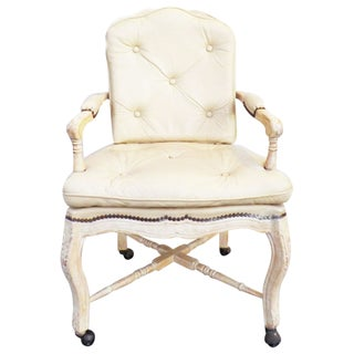 Victorian White Washed Wood Leather Office Chair
