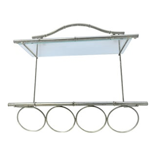 Faux Bamboo Brass Towel Rack & Shelf