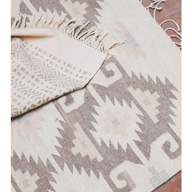 Neutral Handwoven Oaxaca Wool Rug - 2′ × 3′ - Image 3 of 3
