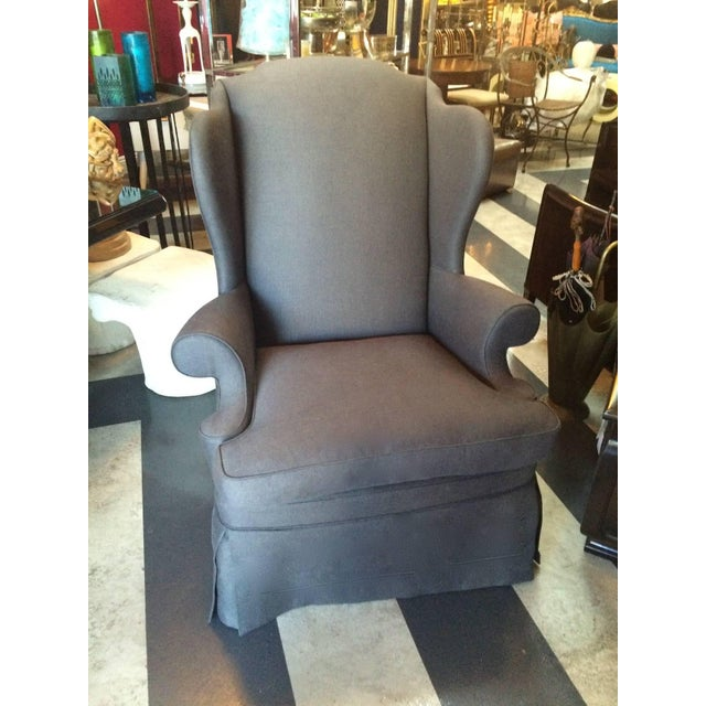 Image of Gray Linen Upholstered Wingback Chairs - Pair